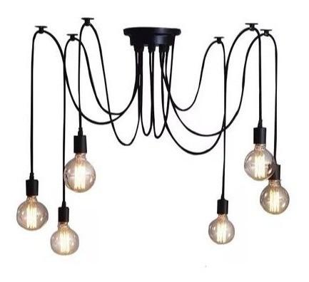 Pendente Aranha em alumínio Preto 6 lâmpadas de filamento de LED