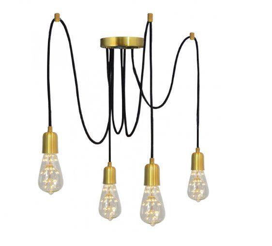 Pendente Luminária Aranha industrial em alumínio verniz ouro para 4 lâmpadas E27 140cm x 12,5cm
