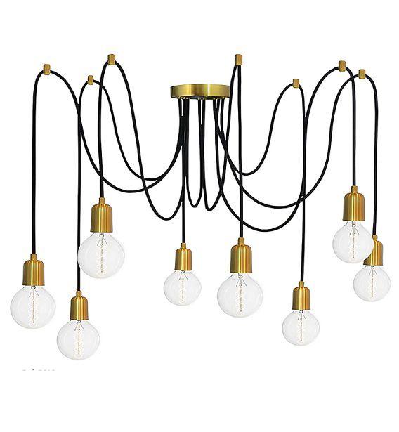 Pendente Luminária Aranha industrial em alumínio verniz ouro para 8 lâmpadas E27 140cm x 12,5cm