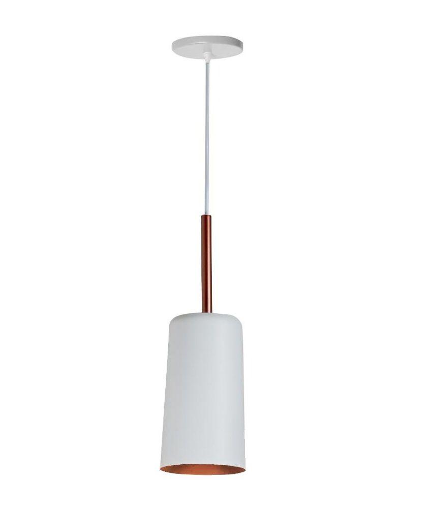 Pendente Bilboquê 12 x 38cm em alumínio branco com cobre para 1 Lâmpada E27 109 BTCOCO Newline