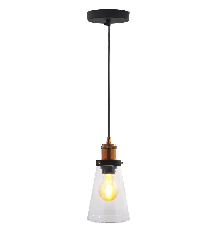 Pendente Cone Industrial em vidro e alumínio cobre para 1 Lâmpada E27 120 x 30 x 15cm