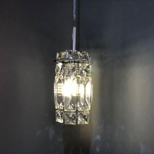 Pendente Cristal K9 para sala de jantar transparente 4590 Diam.90mm x Alt.135 mm para 1x Lâmpada G-9