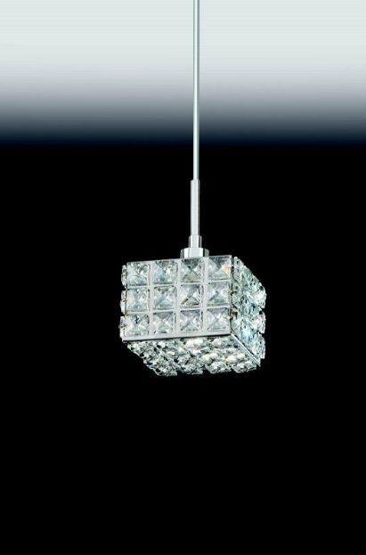 Pendente Cristal K9 para sala de jantar transparente 4708 Diam. 120x120x170mm para 1x Lâmpada G-9