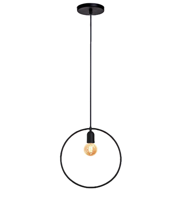 Pendente de cozinha americana com bancada ou sem - Lira redondo preto fosco 300mm diâmetro para 1x lâmpada E-27