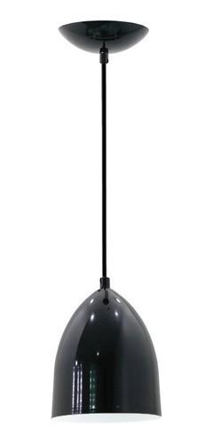 Pendente de cozinha com bancada americana Lisboa preto fosco com branco para 1x lâmpada E-27