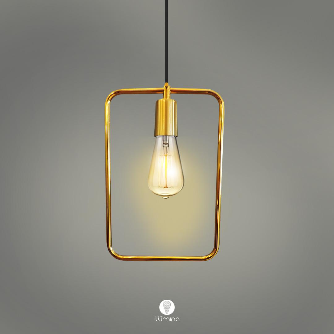 Pendente de cozinha Lira Retangular verniz ouro 200mm x 300mm para 1x lâmpada E-27