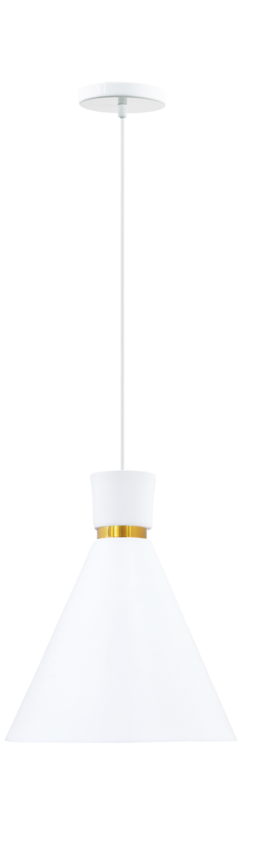 Pendente Dual branco fosco com dourado em alumínio para 1x lâmpada E-27 210mm x 200mm