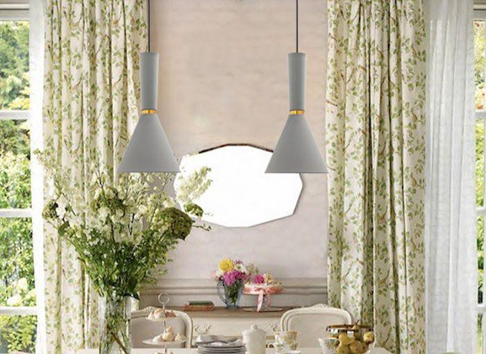 Pendente de cozinha - sala de jantar com ou sem bancada Dual Long branco fosco com cobre em alumínio para 1x lâmpada e-27 320mm x 200mm