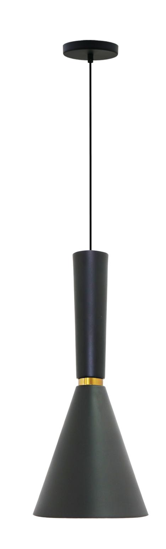 Pendente para cozinha com bancada Dual Long preto fosco com dourado em alumínio para 1x lâmpada e-27 320mm x 200mm