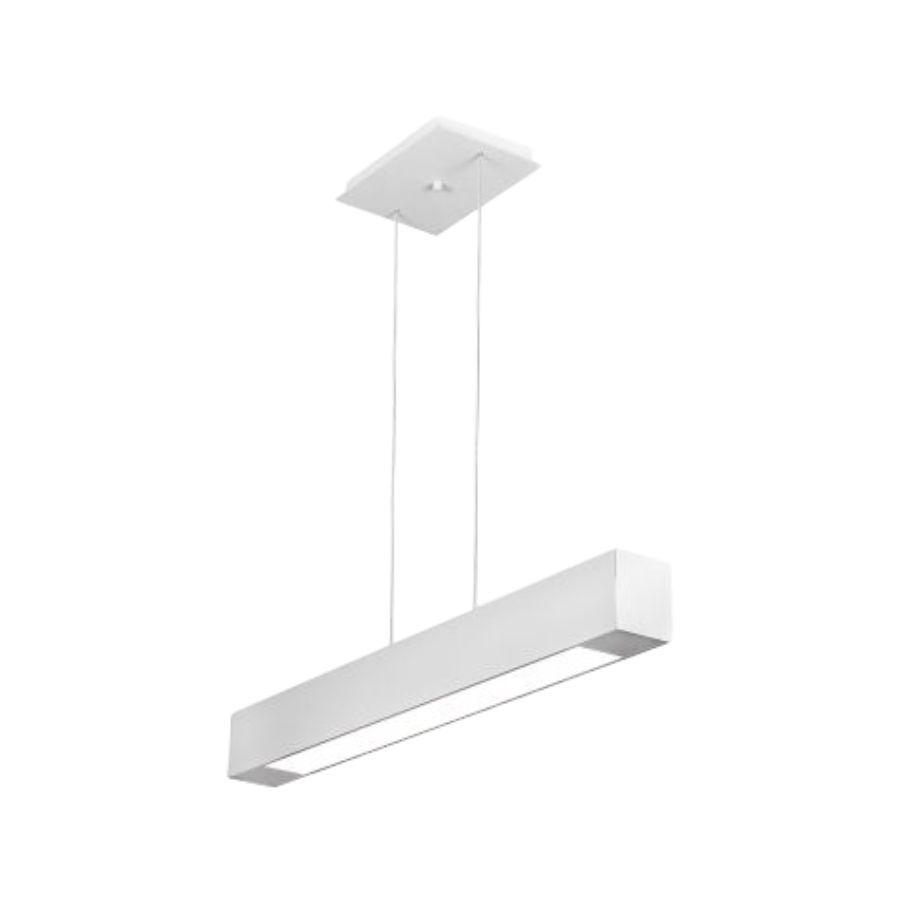 Pendente em Alumínio Branco Com Difusor Opalino 1X Lâmpada T8