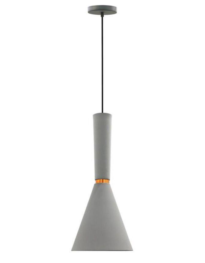 Pendente para balcão em alumínio cinza com cobre para 1 lâmpada  E-27 L20cm x H32cm