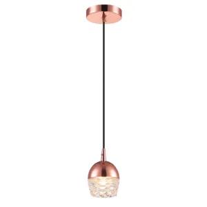 Pendente em vidro e alumínio cobre ouro rosê para 1 lâmpada G9 10cm x 14cm PE-038/1.10OR +Luz