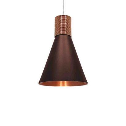 Pendente Fuji M Premium marrom/cobre cabo em tecido Nobre Luminárias 6154T