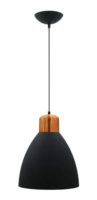 Pendente industrial preto/cobre para 1xE27 Ø30cm