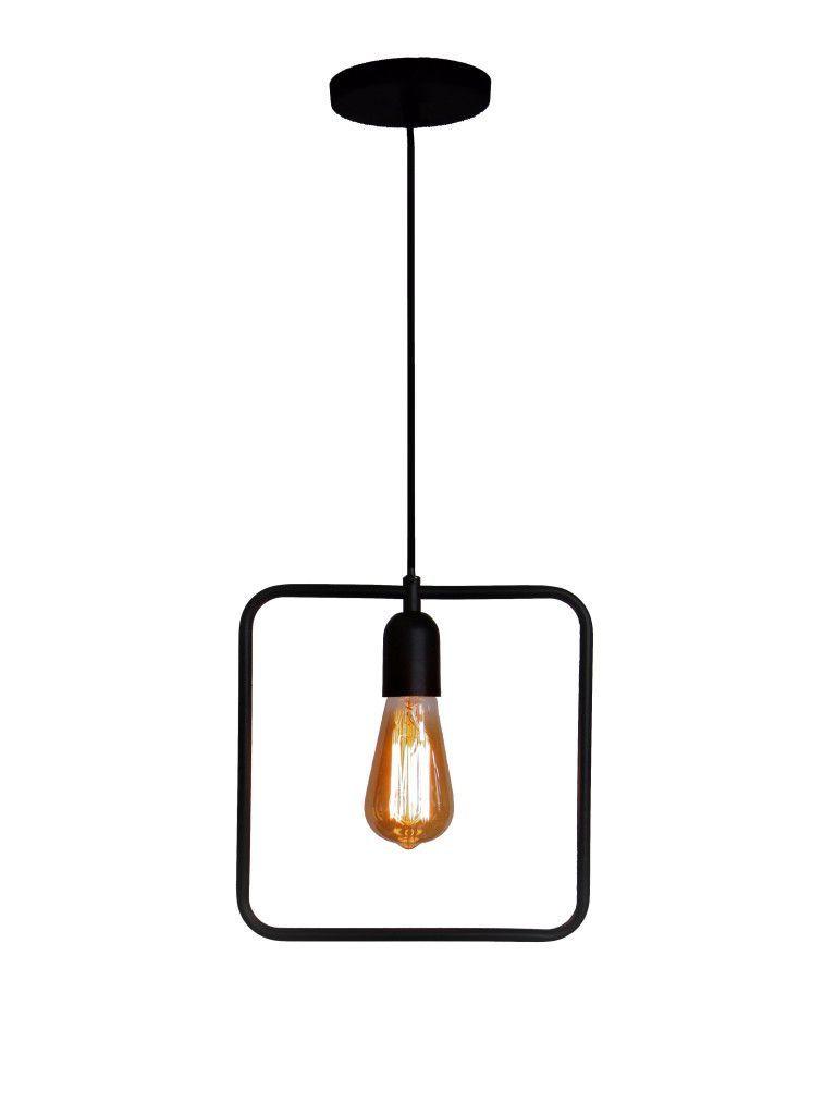 Pendente para cozinha americana com bancada ou sem Lira quadrado preto fosco 250mm x 250mm para 1x lâmpada E-27