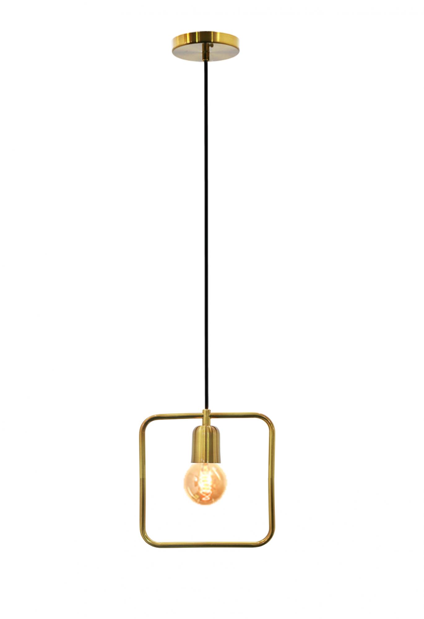 Pendente de cozinha americana com ou sem bancada Lira quadrado verniz ouro 250mm x 250mm para 1x lâmpada E-27