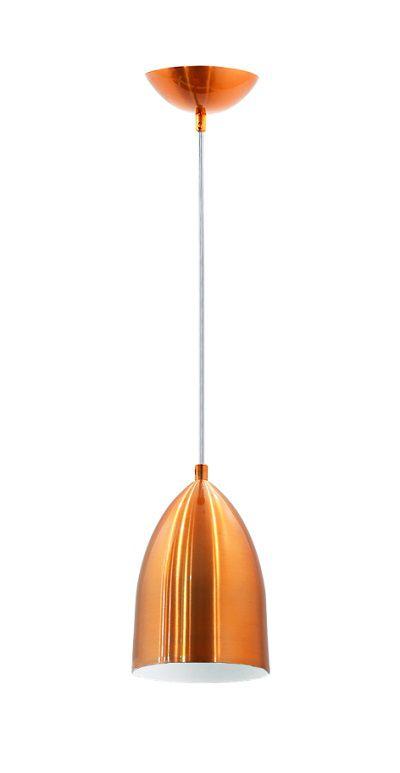 Pendente para cozinha americana com bancada ou sem Lisboa cobre com branco para 1x lâmpada E-27
