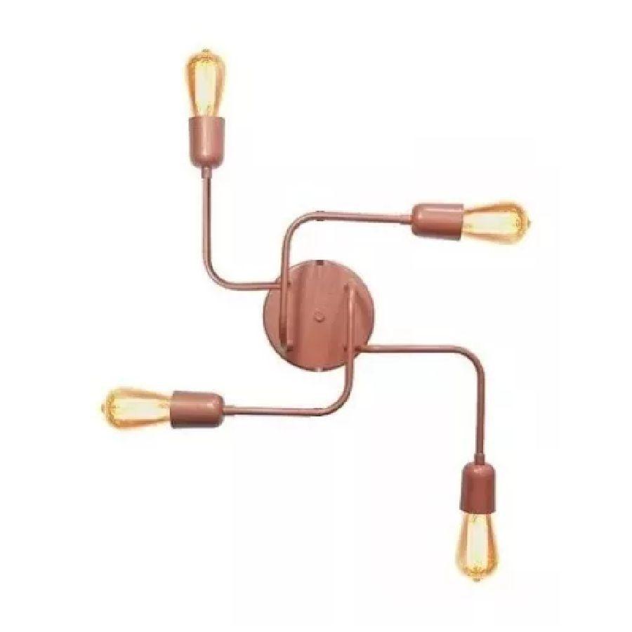 Plafon Luminária Aranha industrial retrô cobre rosê para 4 lâmpadas E27
