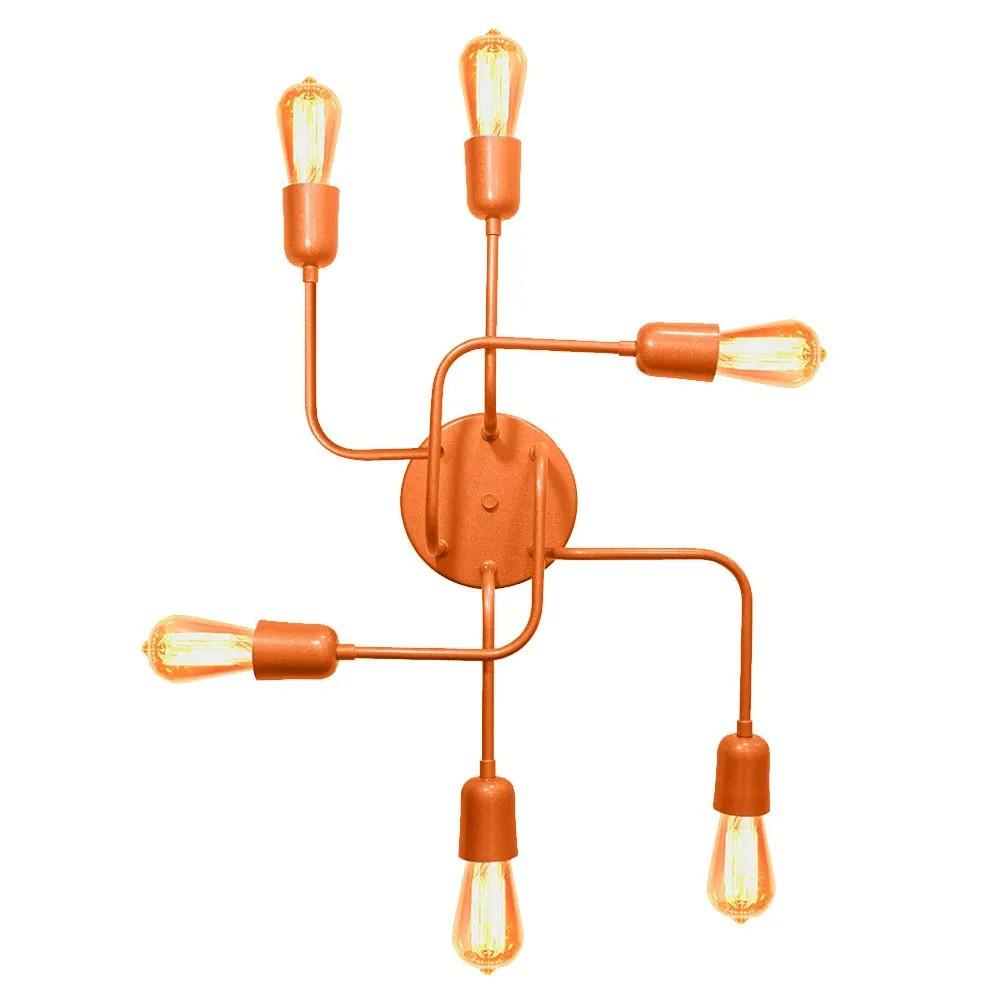 Plafon Luminária Aranha industrial Retrô em alumínio cobre para 6 lâmpadas E27 de filamento 51cm x 43cm