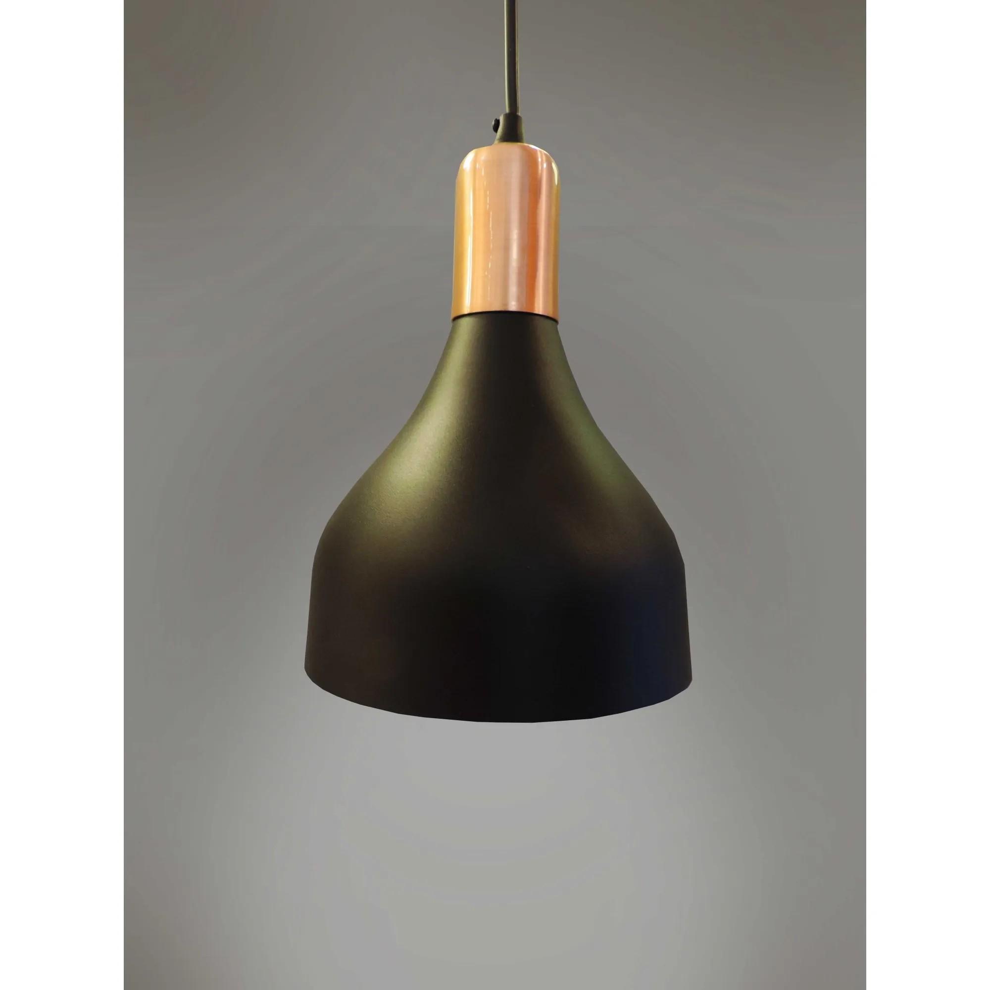 Pendente lustre Berlim Premium preto/cobre Ø15,5cm x 20cm