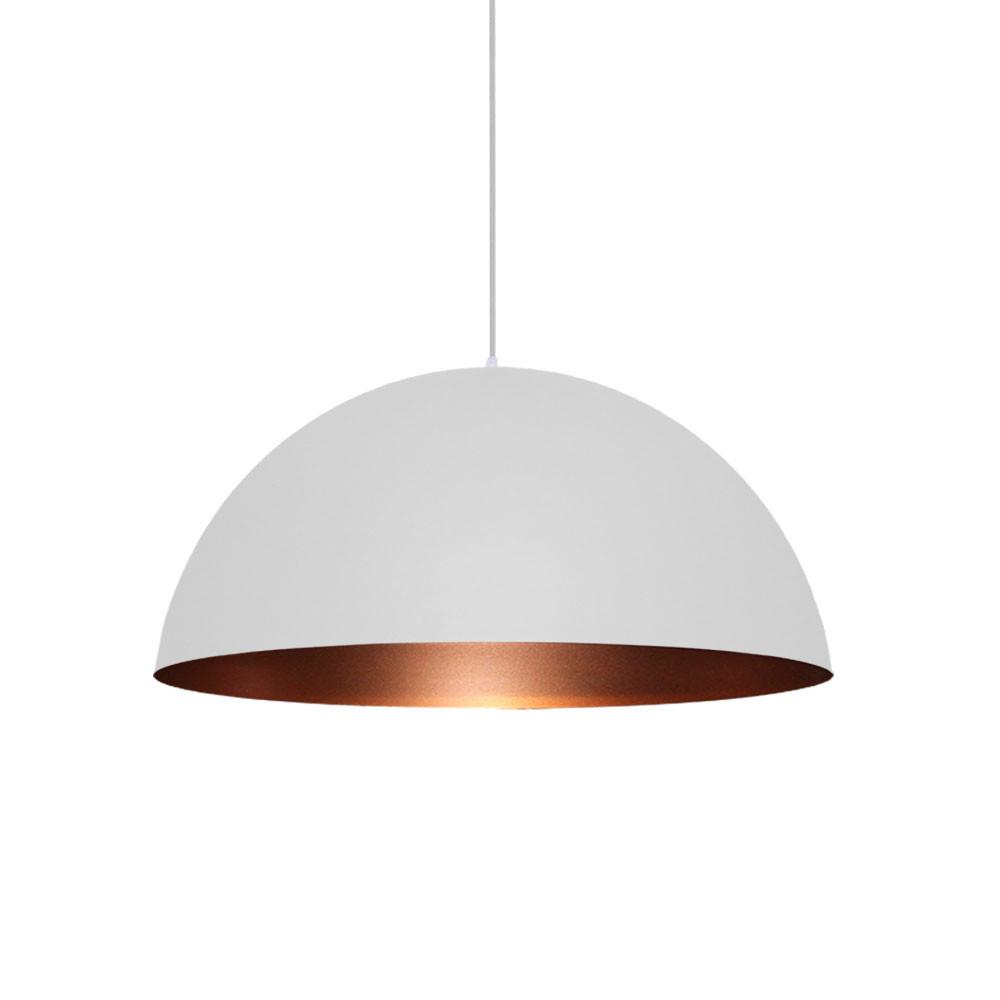 Pendente lustre meia lua Ø40cm em alumínio branco/cobre 1xE27