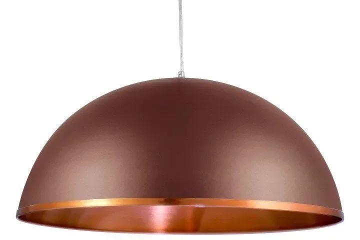 Pendente lustre meia lua Ø40cm em alumínio marrom texturizado/cobre 1xE27