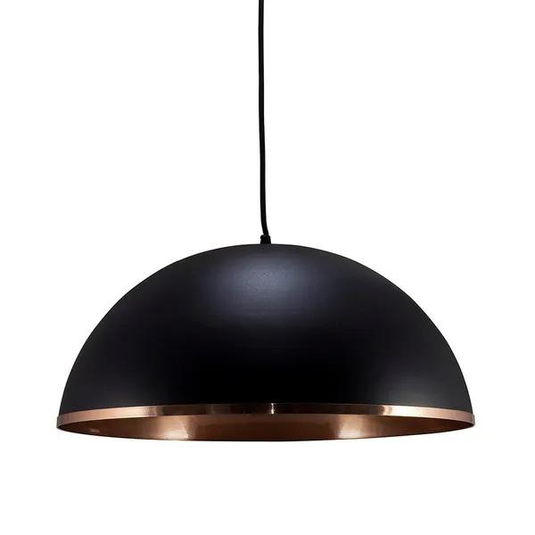 Pendente lustre meia lua Ø40cm em alumínio preto/cobre 1xE27