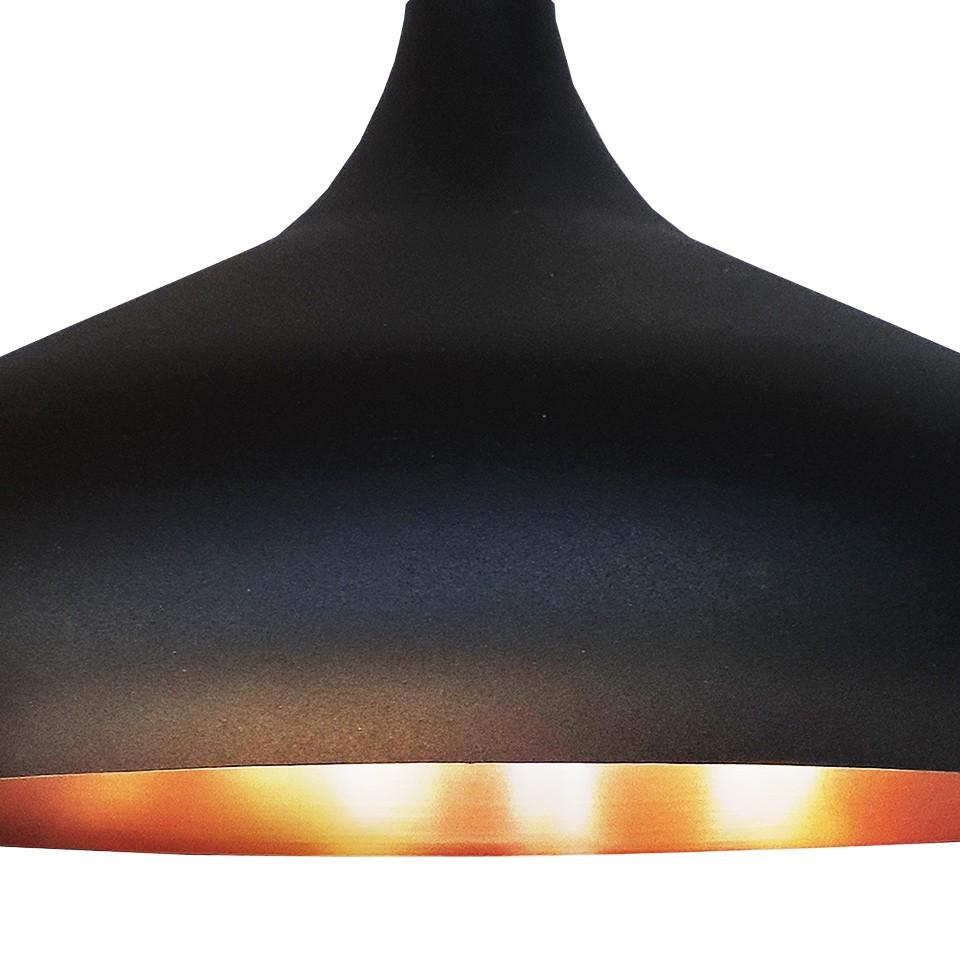 Pendente Lustre Taj Mahal alumínio preto/cobre Ø31cm