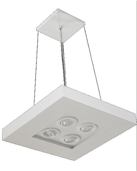 Pendente Luz Indireta e Direta 50cm x 50cm 4x lâmpadas E27 E 4x lâmpadas GU10