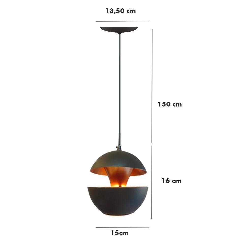 Pendente Miami P 16cm preto/cobre 9801 Nobre luminárias