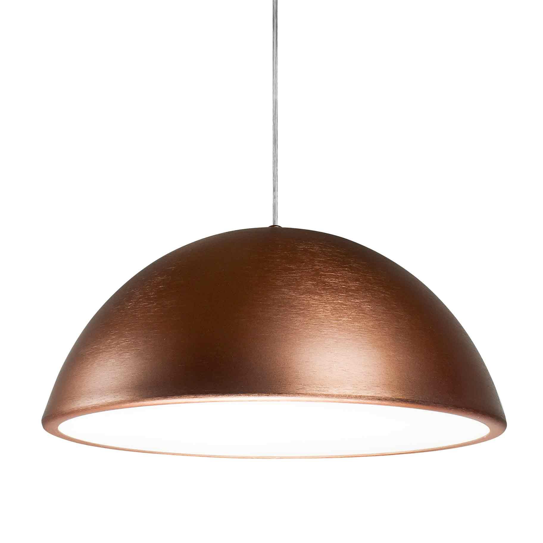 Pendente Sala de Jantar New Round SNT346 redondo / cobre escovado para 2 lâmpadas E27 60cm X 34cm Newline