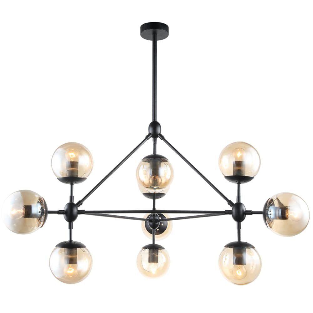 Pendente Orbe preto em metal e vidro para 10 lâmpadas E27 Bella OP056