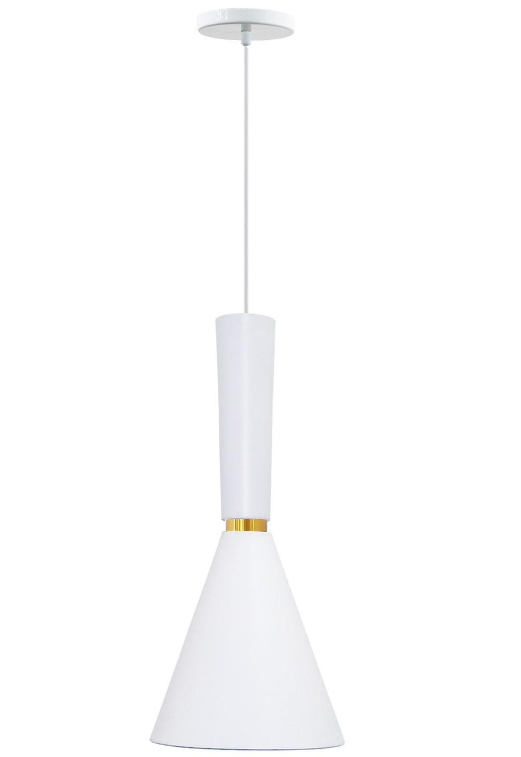 Pendente para balcão em alumínio branco fosco com dourado para 1 lâmpada E-27 L20cm x H32cm