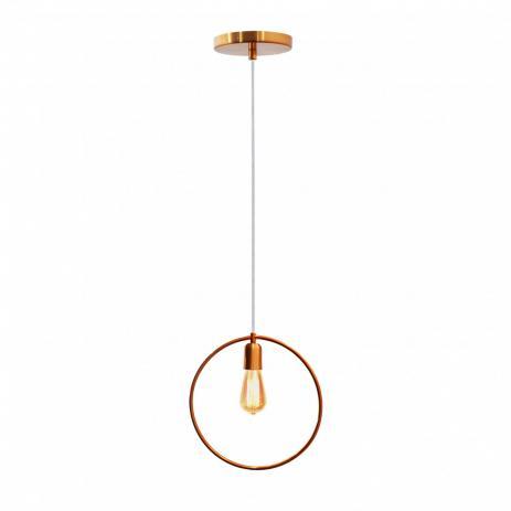 Pendente para bancada/mesa redondo em alumínio cobre para 1 lâmpada E27 Ø30cm