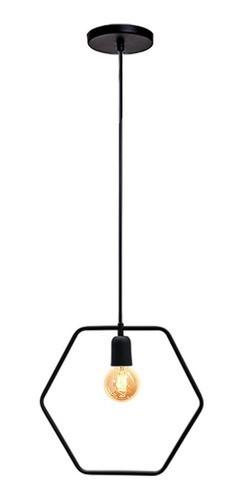 Pendente para cozinha americana Lira Sextavado Preto Fosco 330mm X 300mm para 1x lâmpada E-27