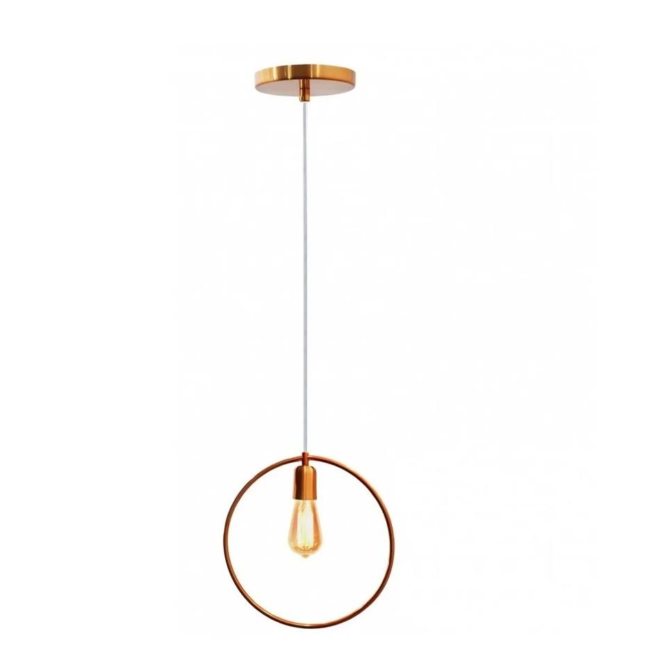 Pendente para cozinha - sala de jantar Lira redondo cobre 300mm diâmetro para 1x lâmpada E-27