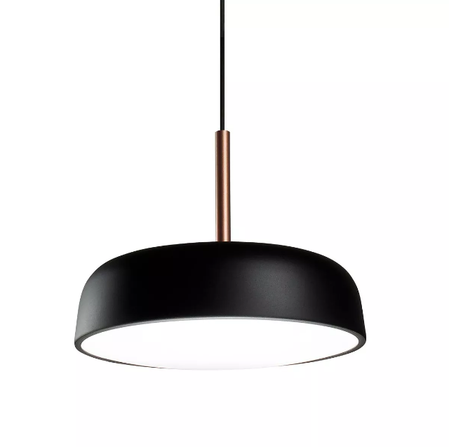 Pendente para sala de jantar/estar Victoria 166 redondo preto/cobre em alumínio para 3 lâmpadas E27 40cm x 26cm Newline
