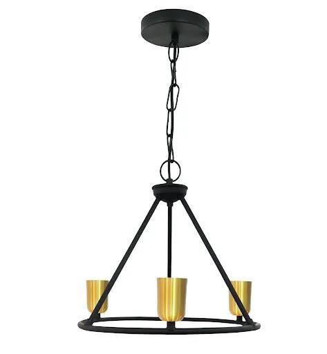 Pendente lustre provençal Edgar preto/ouro para 3xE27 28cm x 32cm