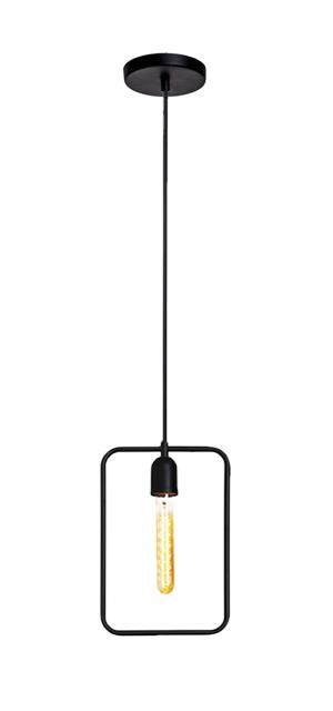 Pendente Retrô Lira retângular preto fosco 30cm X 20cm para 1x lâmpada E-27