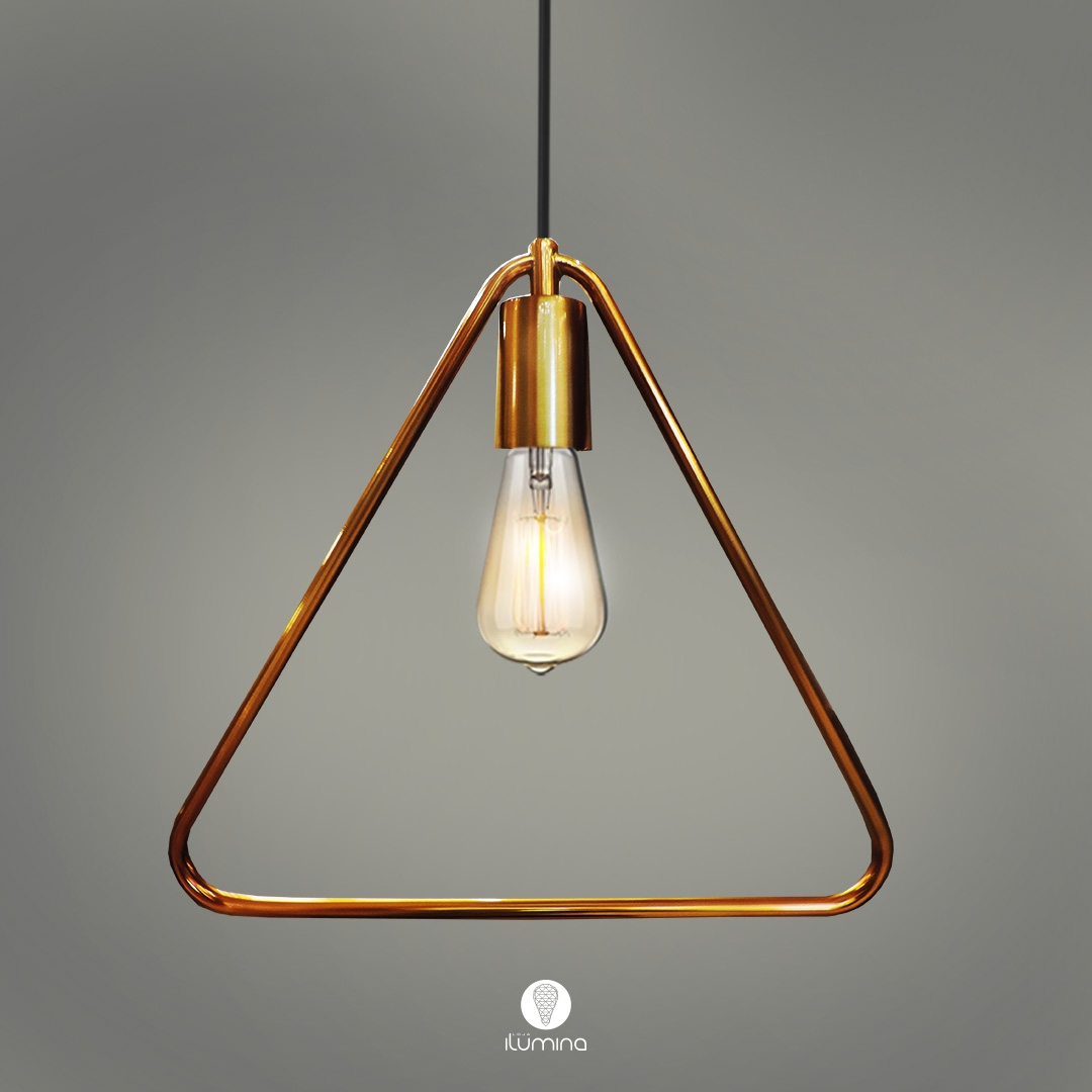 Pendente Retrô Lira triangular Dourado 31cm X 32cm para 1x lâmpada E-27