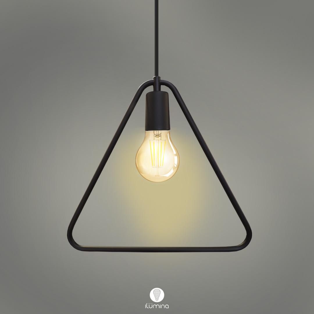 Pendente Retrô Lira triângular preto fosco 31cm X 32cm para 1x lâmpada E-27
