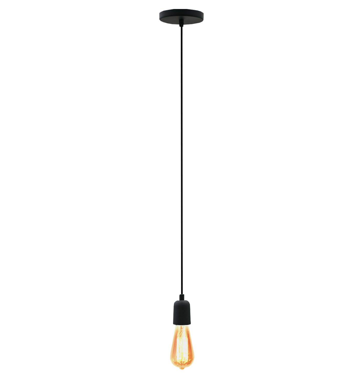Pendente Retrô em alumínio preto fosco para 1x lâmpada E-27 até 15W 45mmx200mm