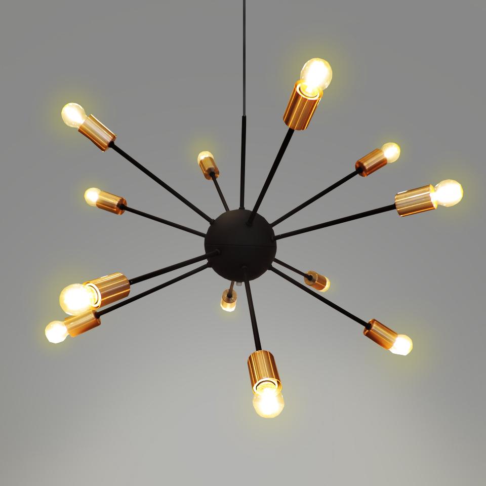 Pendente Sputnik Luminária Moderna Lustre Preto Fosco 12 Lâmpadas 2 Metros de cabo