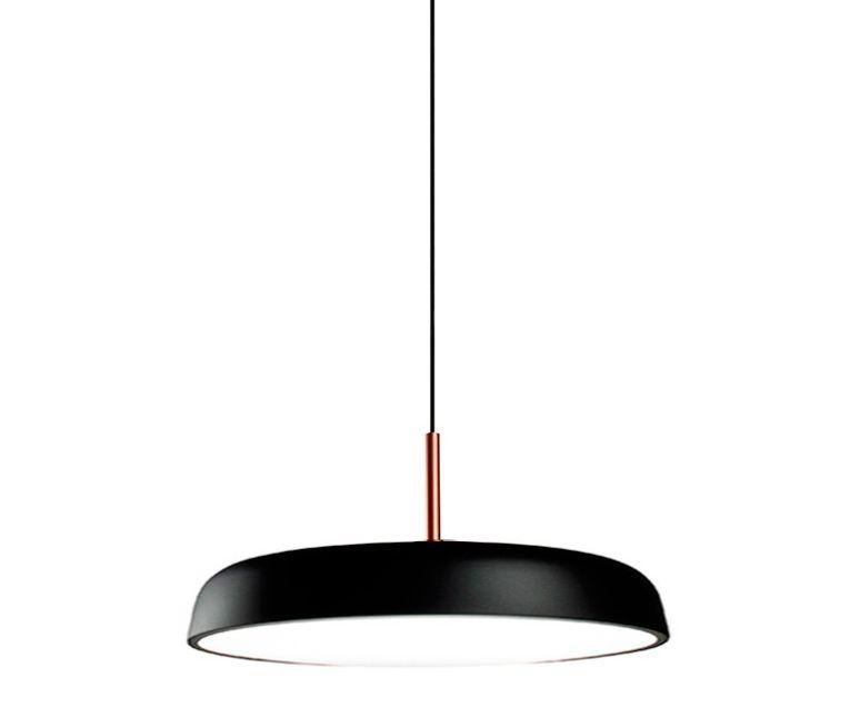 Pendente para sala Victoria 167 redondo preto/cobre em alumínio para  5 lâmpadas E27 60cm X 26,5cm Newline