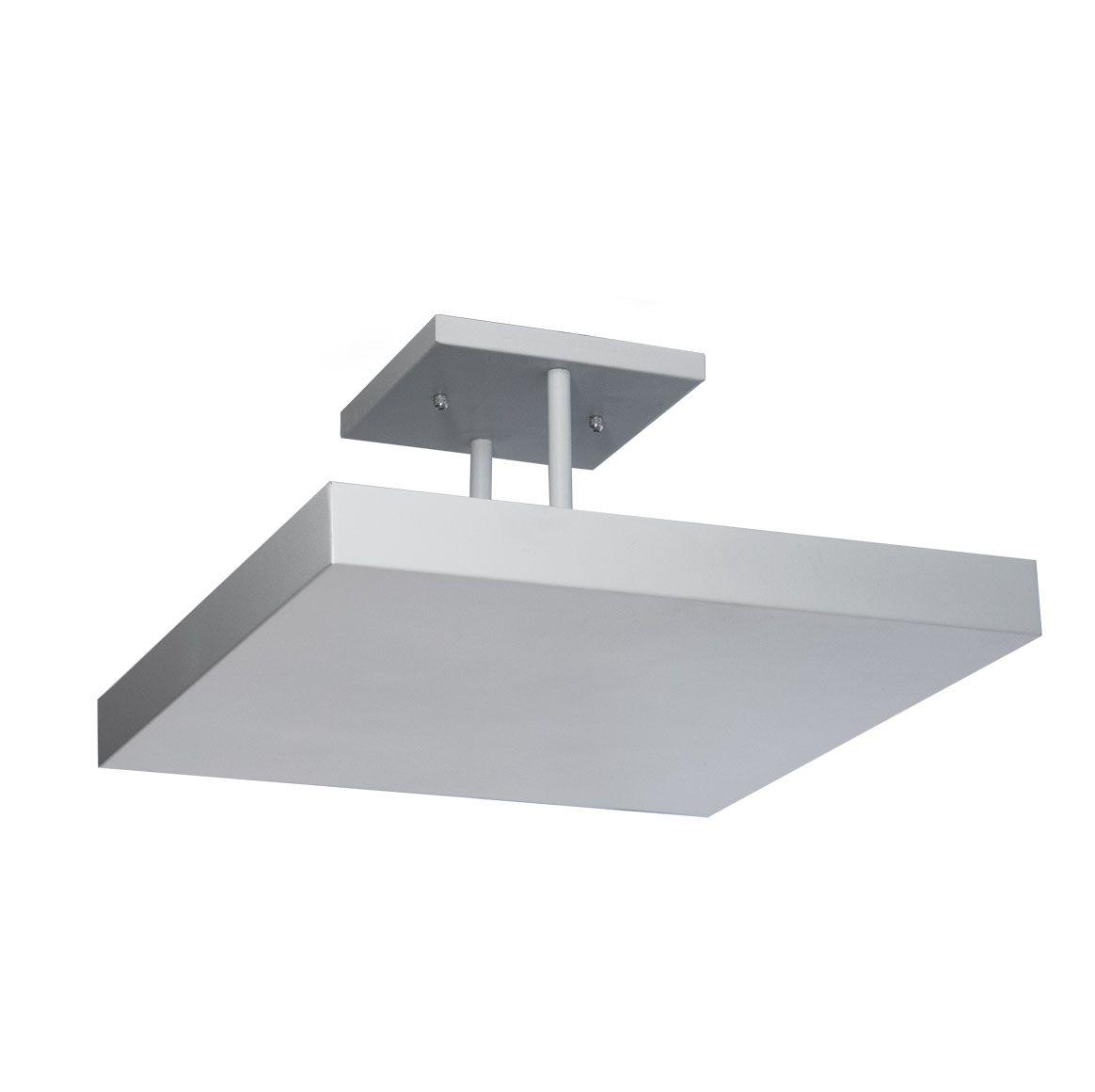 Plafon de sobrepor de luz indireta 20x20cm em alumínio branco texturizado
