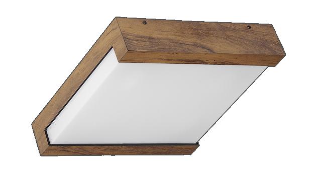 Plafon quadrado de sobrepor em madeira e acrílico leitoso 30 cm para 3 lâmpadas E27  202/30