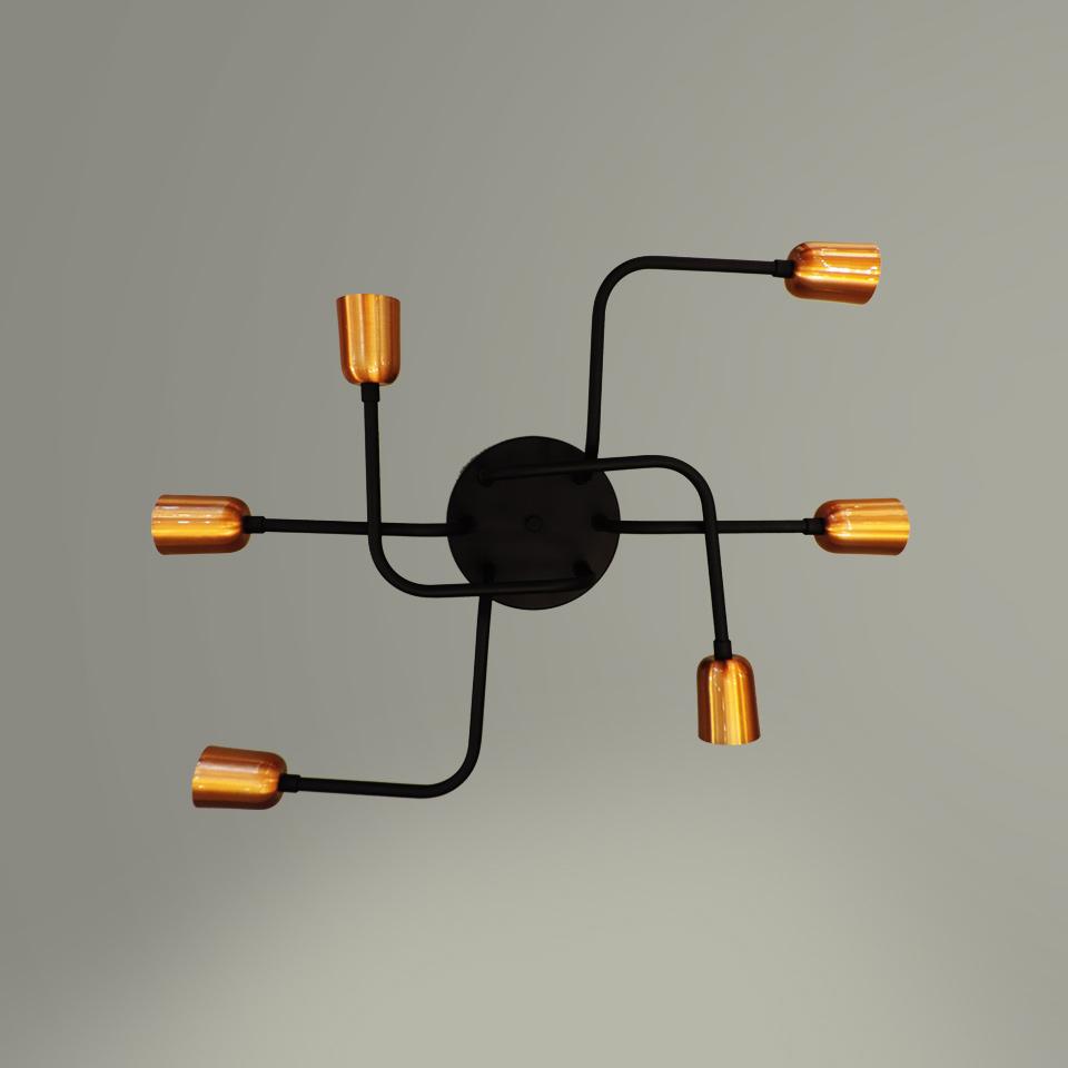 Plafon Filamento 6 Lâmpadas