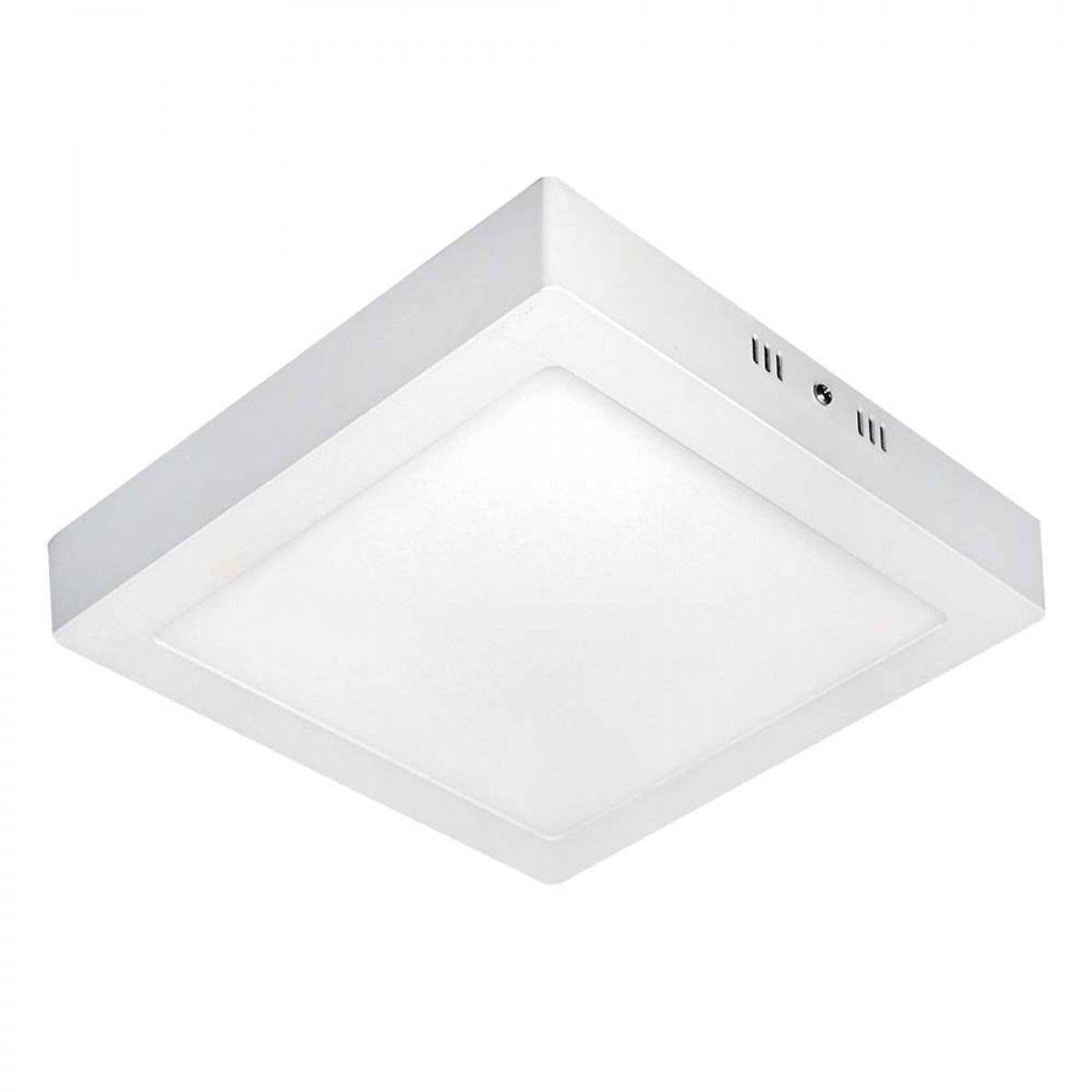 Plafon LED de alumínio de sobrepor quadrado 24w 3000k ou 6000k Bi-Volt