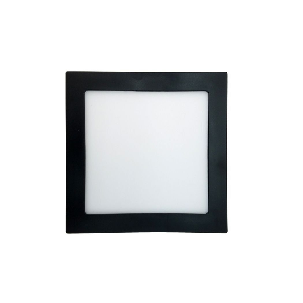 Plafon LED embutir jet black 12W 4000K 17x17x2cm Save Energy