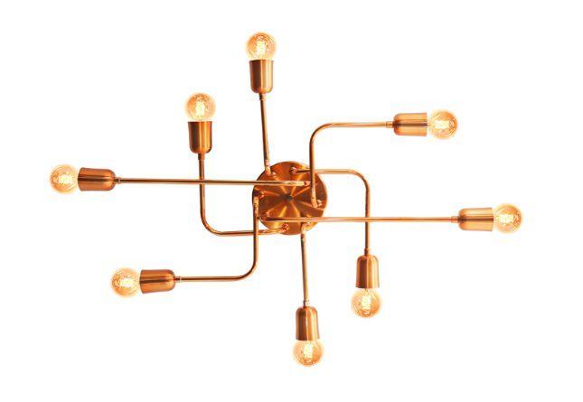 Pendente Luminária Aranha industrial Retrô em alumínio cobre para 8 lâmpadas E27 de filamento 54cm x 51cm
